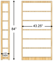 Actual Width Is 43 1 4wide All Material Solid Wood Uprights Are Fabricated With Deep Mortise Tenon Joinery Shelves 3 4thick Reversed Grain